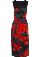 Oscar De La Renta Woman Fil Coupé Floral-jacquard Midi Dress Black