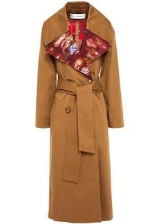Oscar De La Renta Woman Fil Coupé Jacquard And Cotton-blend Gabardine Trench Coat Camel