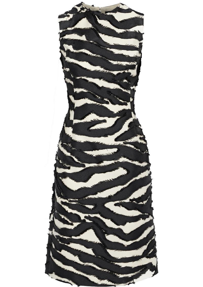 Oscar De La Renta Woman Fil Coupé Satin-twill Dress Black