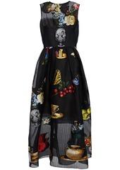 Oscar De La Renta Woman Fil Coupé Silk-blend Organza Gown Black