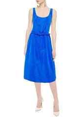 Oscar De La Renta Woman Flared Belted Duchesse Silk-satin Dress Azure