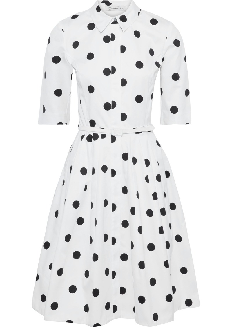Oscar De La Renta Woman Flared Belted Polka-dot Cotton-twill Dress White