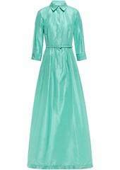 Oscar De La Renta Woman Flared Belted Silk-taffeta Gown Jade