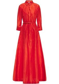 Oscar De La Renta Woman Belted Silk-taffeta Gown Tomato Red