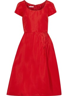 Oscar De La Renta Woman Flared Bow-embellished Silk-faille Dress Red