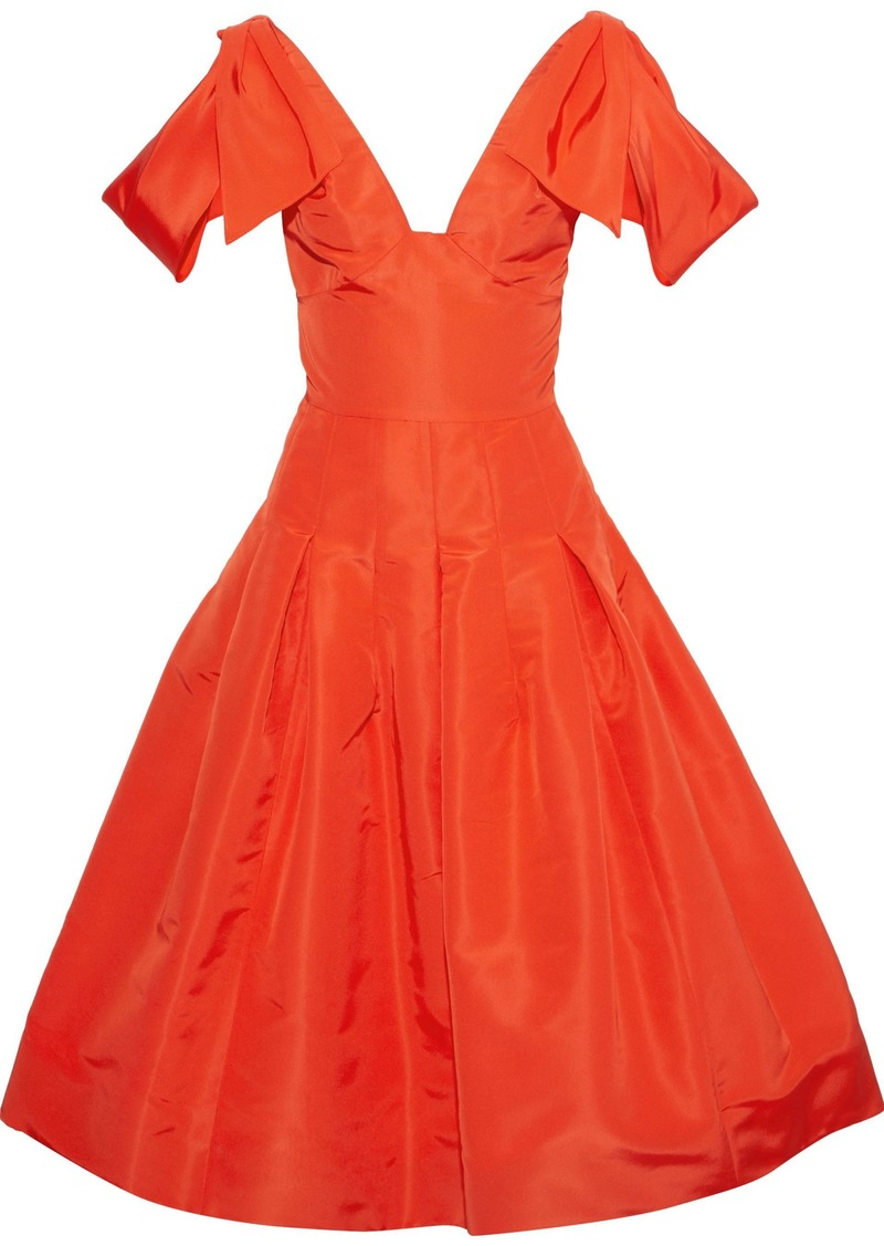 Oscar De La Renta Woman Flared Bow-embellished Wool-blend Faille Dress Bright Orange