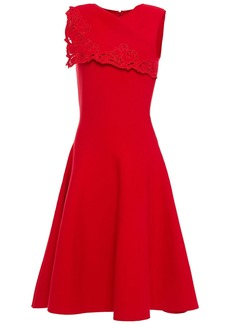 Oscar De La Renta Woman Flared Broderie Anglaise-trimmed Ponte Dress Tomato Red