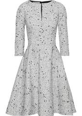Oscar De La Renta Woman Flared Brushed Silk-bouclé Dress Light Gray
