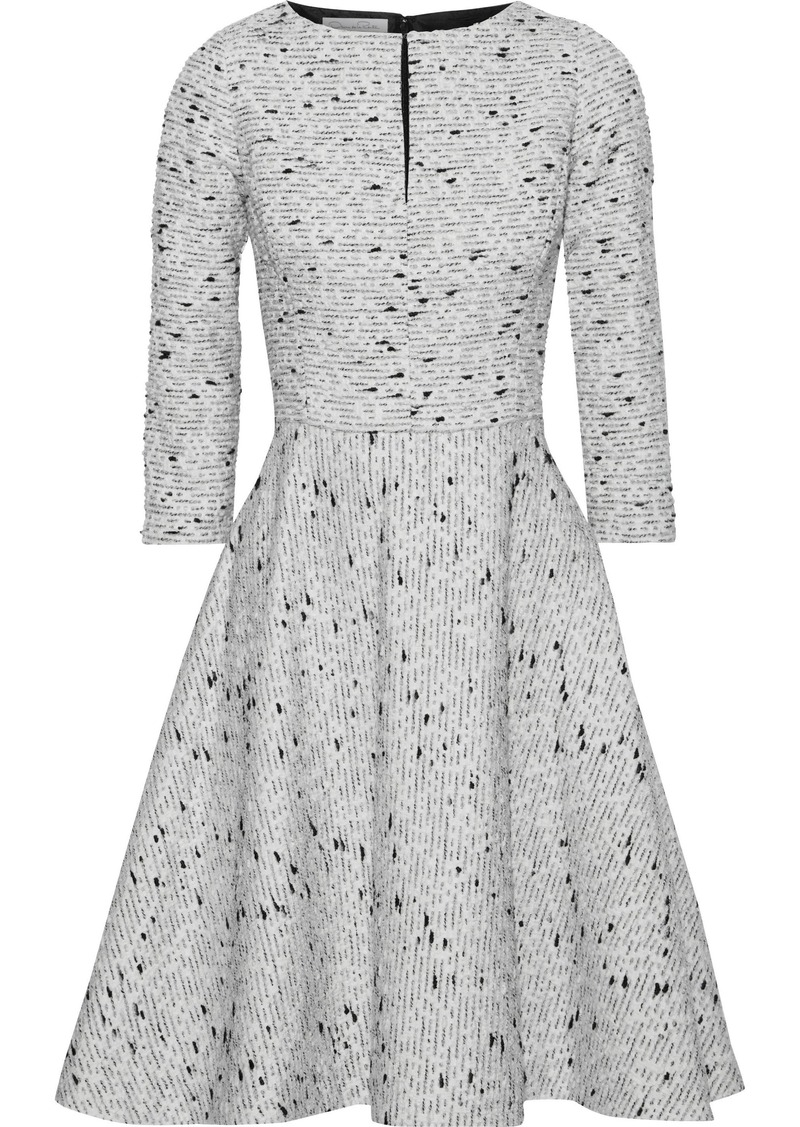 Oscar De La Renta Woman Flared Brushed Silk-bouclé Dress Light Gray