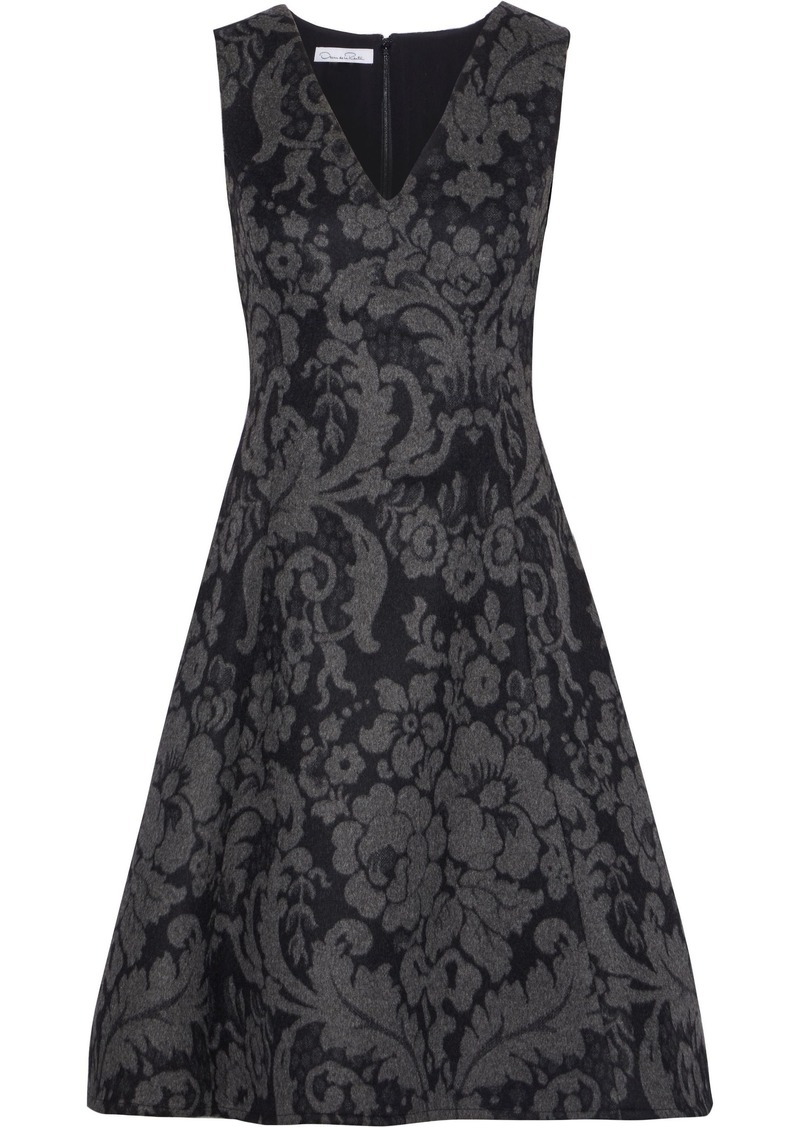 Oscar De La Renta Woman Flared Brushed Wool-jacquard Dress Anthracite