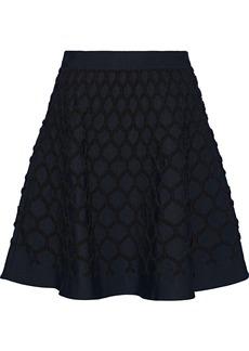 Oscar De La Renta Woman Flared Cloqué Mini Skirt Navy
