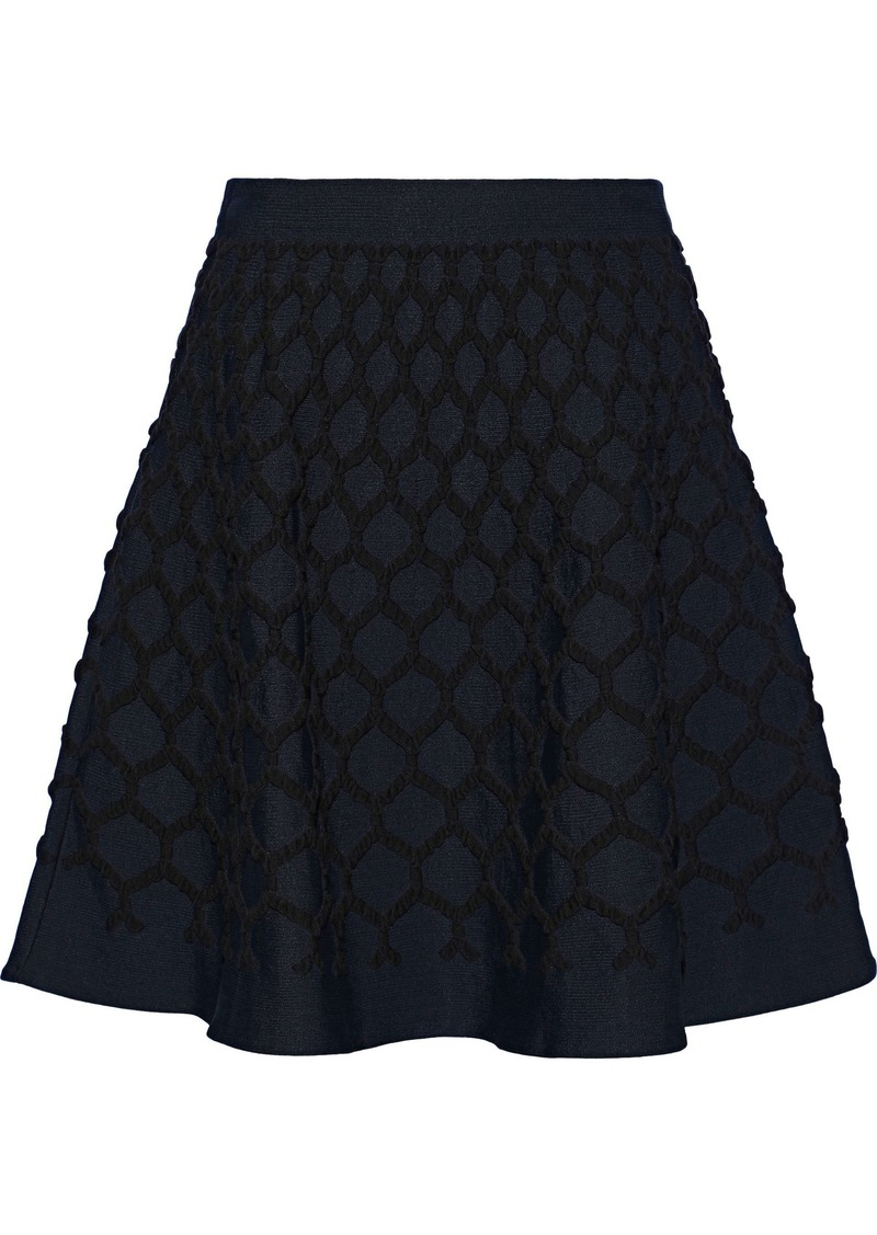 Oscar De La Renta Woman Flared Cloqué Mini Skirt Navy