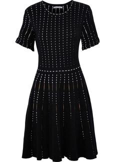 Oscar De La Renta Woman Flared Cotton-blend Jacquard Mini Dress Black