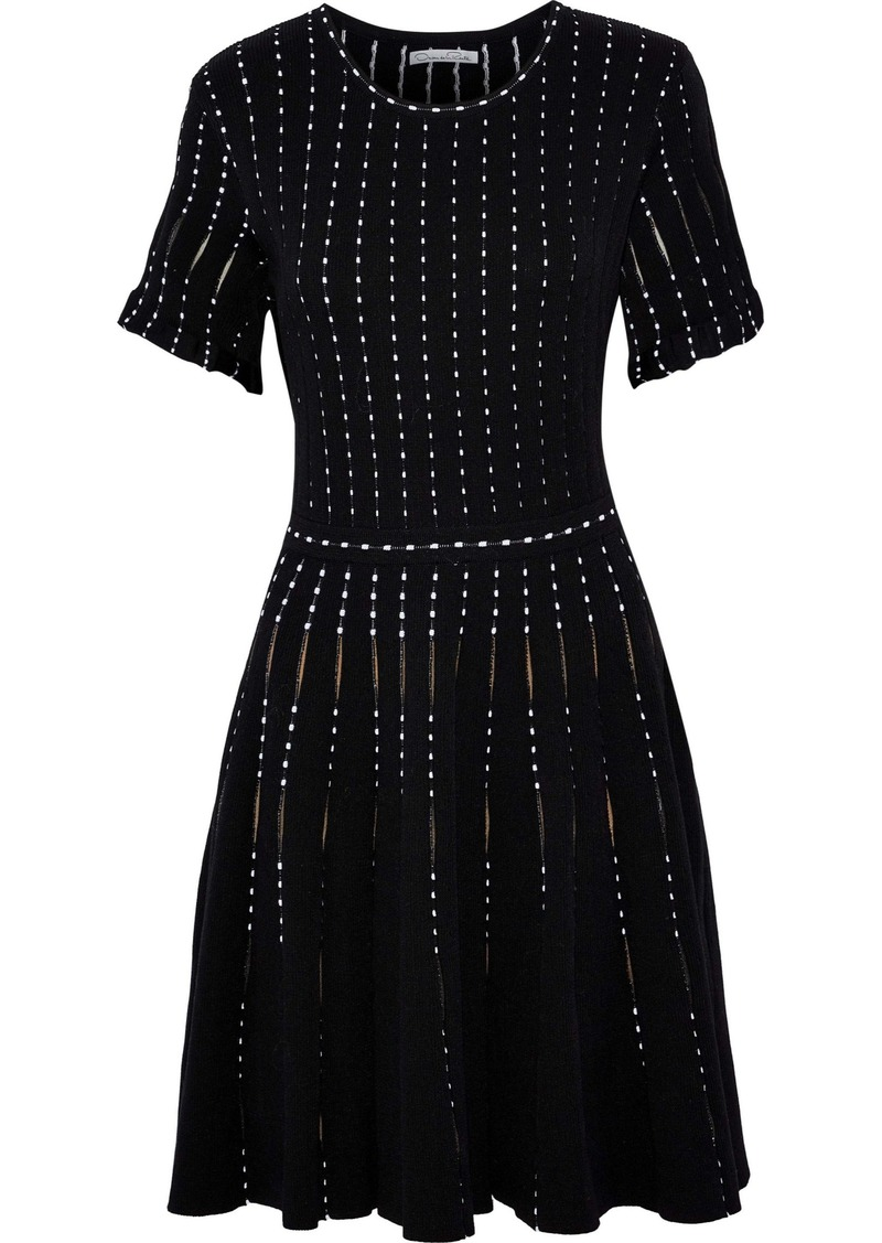 Oscar De La Renta Woman Flared Cotton-blend Jacquard Mini Dress Black