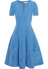 Oscar De La Renta Woman Flared Cotton-blend Moire Dress Light Blue