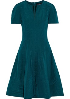 Oscar De La Renta Woman Flared Cotton-blend Moire Dress Petrol