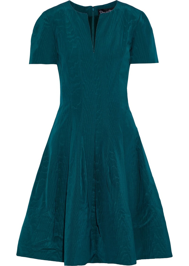 Oscar De La Renta Woman Flared Cotton-blend Moire Dress Petrol