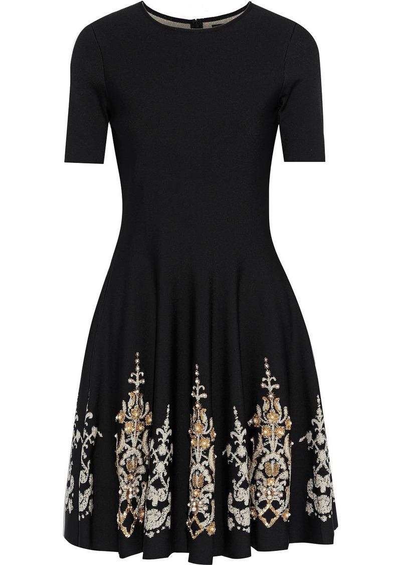 Oscar De La Renta Woman Flared Embellished Jacquard-knit Mini Dress Black