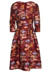 Oscar De La Renta Woman Flared Fil Coupé Floral-jacquard Dress Claret