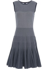 Oscar De La Renta Woman Flared Jacquard-knit Dress Navy
