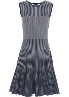 Oscar De La Renta Woman Flared Jacquard-knit Dress Navy
