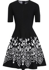 Oscar De La Renta Woman Flared Jacquard-knit Mini Dress Black