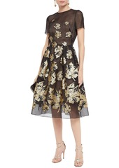 Oscar De La Renta Woman Flared Metallic Fil Coupé Silk-blend Organza Midi Dress Black