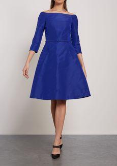 Oscar De La Renta Woman Flared Off-the-shoulder Silk-faille Dress Royal Blue