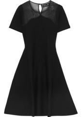 Oscar De La Renta Woman Flared Open Knit-paneled Wool And Silk-blend Dress Black