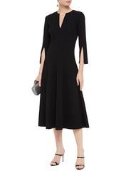 Oscar De La Renta Woman Flared Pintucked Wool-blend Crepe Midi Dress Black
