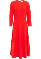 Oscar De La Renta Woman Pintucked Wool-blend Crepe Midi Dress Tomato Red