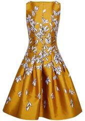 Oscar De La Renta Woman Flared Pleated Satin-jacquard Dress Marigold