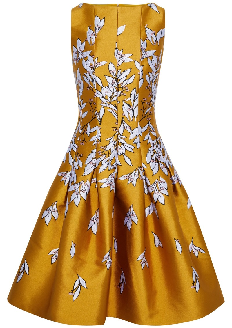 Oscar De La Renta Woman Flared Pleated Satin-jacquard Dress Marigold