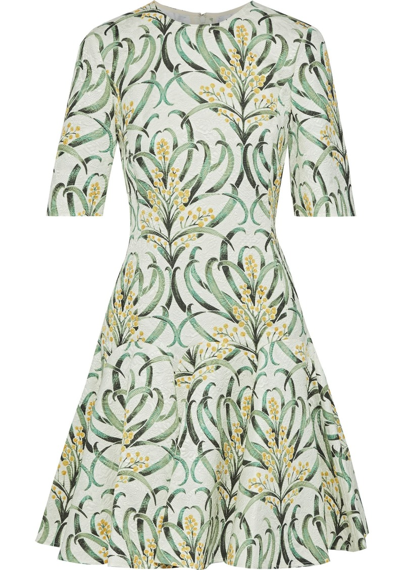 Oscar De La Renta Woman Flared Printed Jacquard Mini Dress Green