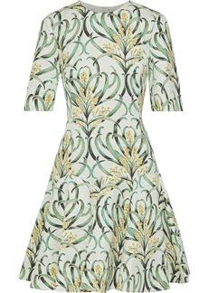 Oscar De La Renta Woman Flared Printed Jacquard Mini Dress Green