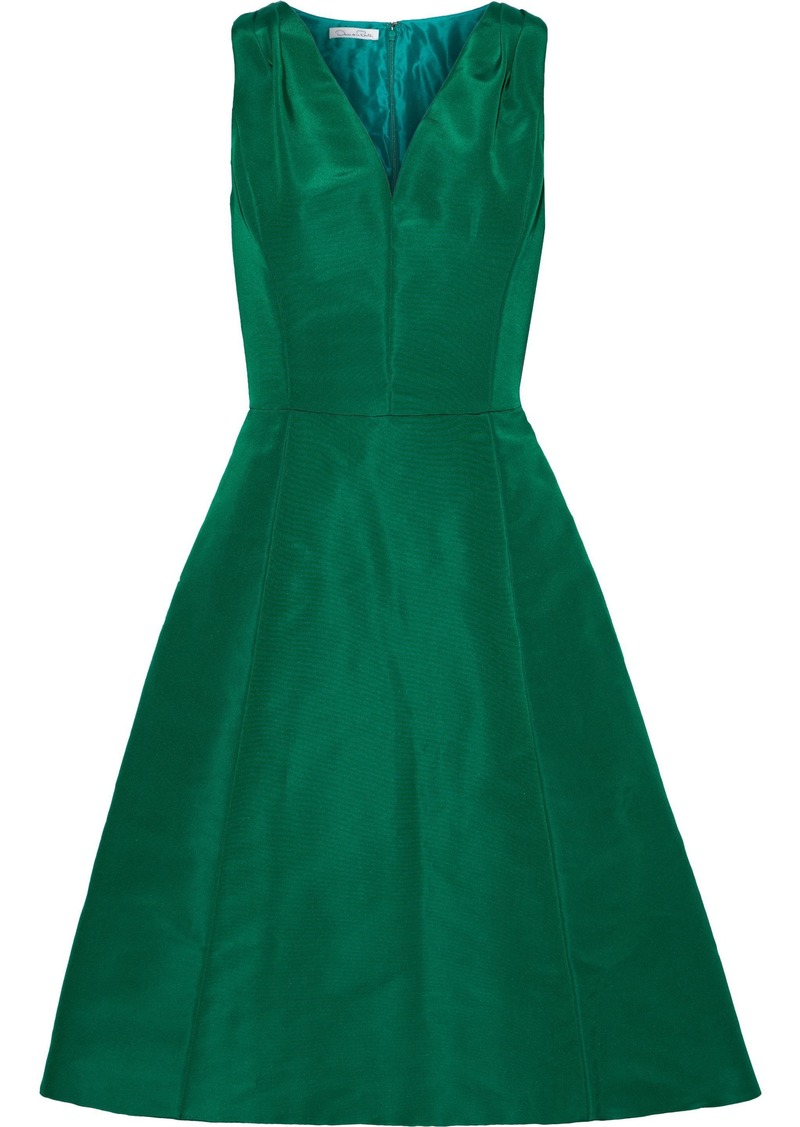 Oscar De La Renta Woman Flared Silk-faille Dress Forest Green