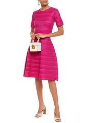 Oscar De La Renta Woman Flared Textured Silk-blend Dress Fuchsia