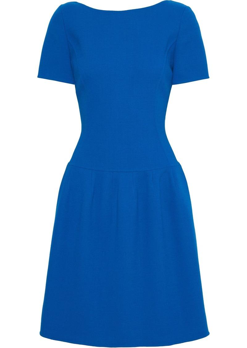 Oscar De La Renta Woman Flared Wool-blend Crepe Dress Bright Blue