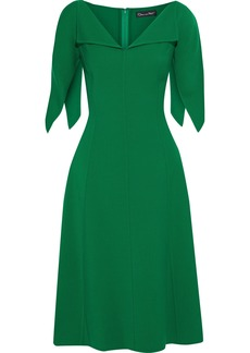 Oscar De La Renta Woman Flared Wool-blend Crepe Dress Forest Green