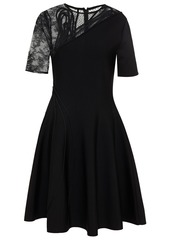 Oscar De La Renta Woman Flocked Tulle Lace And Stretch-knit Dress Black