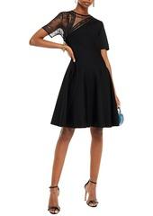 Oscar De La Renta Woman Flocked Tulle Lace And Stretch-knit Dress Black