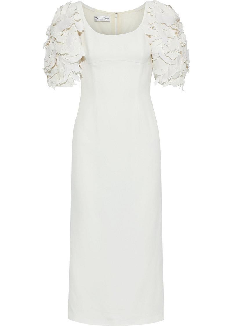 Oscar De La Renta Woman Floral-appliquéd Crepe Midi Dress Ivory