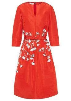 Oscar De La Renta Woman Floral-appliquéd Silk-faille Dress Red