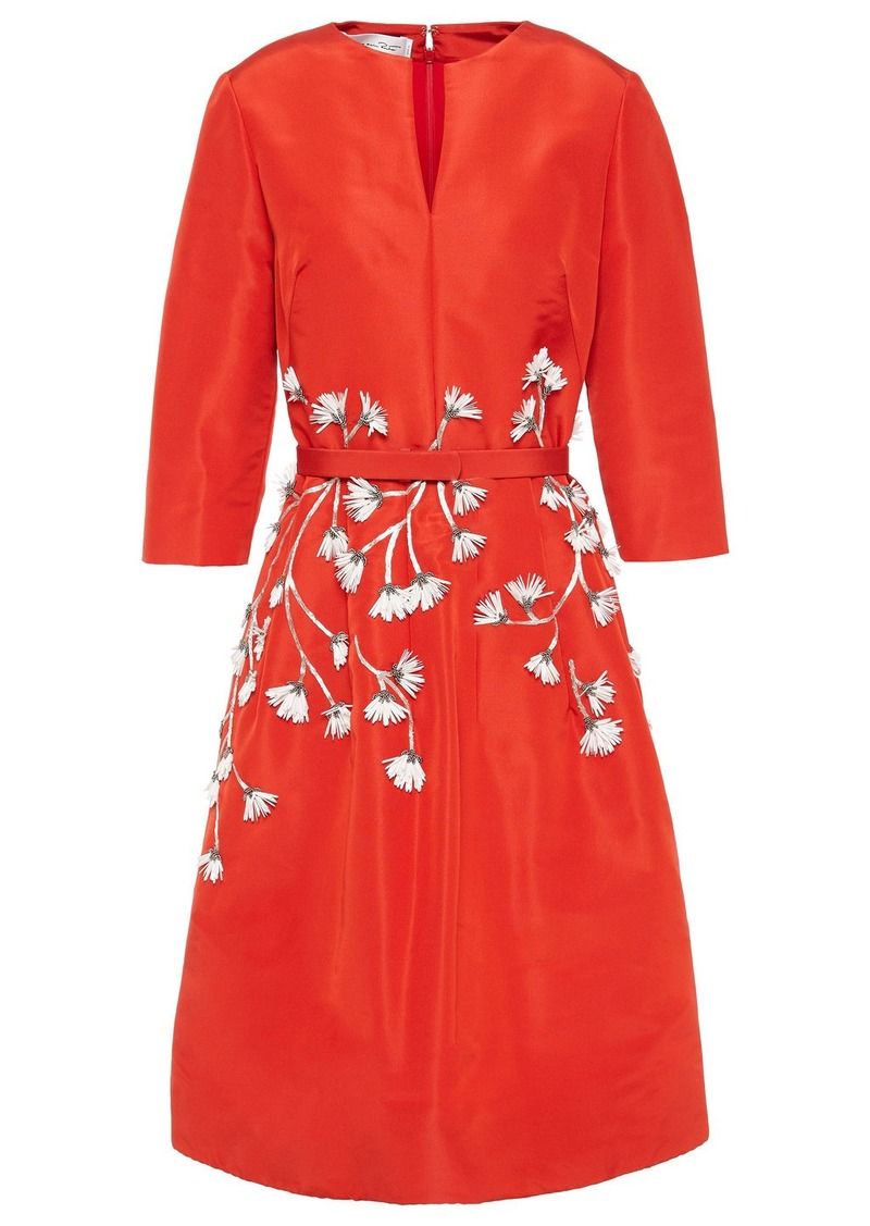 Oscar De La Renta Woman Floral-appliquéd Silk-faille Dress Red