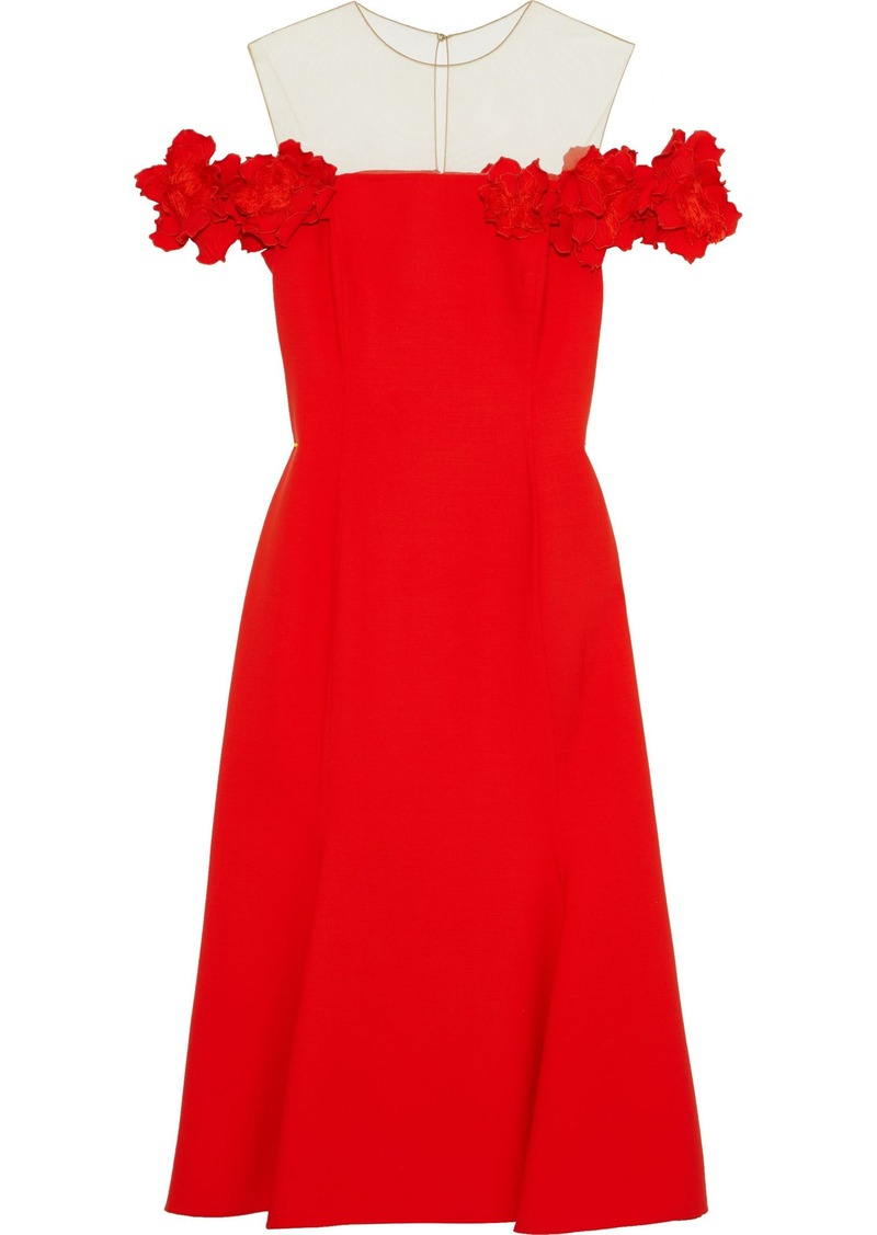 Oscar De La Renta Woman Floral-appliquéd Tulle-paneled Wool-blend Cady Dress Red