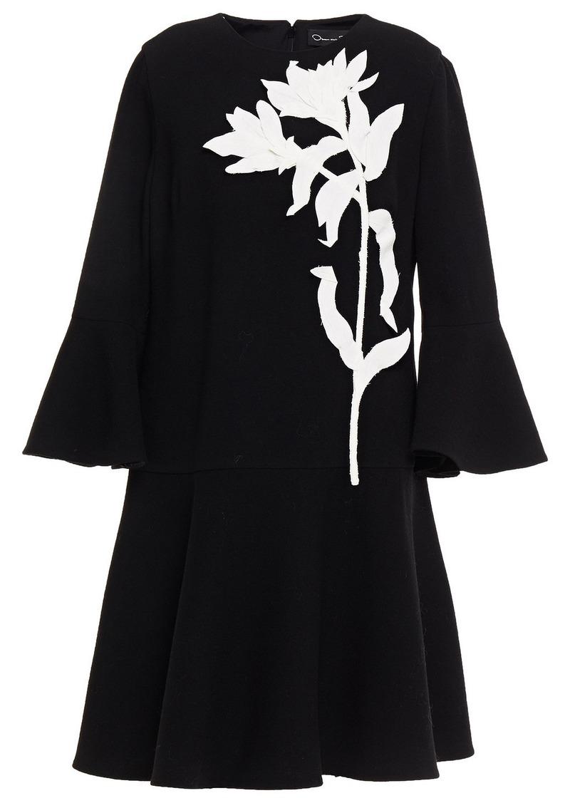 Oscar De La Renta Woman Floral-appliquéd Wool-blend Crepe Dress Black
