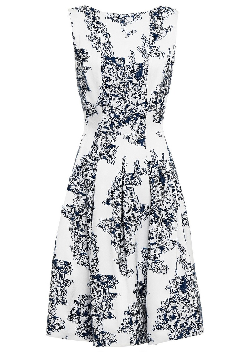 Oscar De La Renta Woman Floral-jacquard Dress Off-white