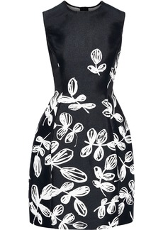 Oscar De La Renta Woman Floral-jacquard Mini Dress Black