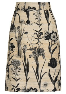 Oscar De La Renta Woman Floral-jacquard Skirt Beige