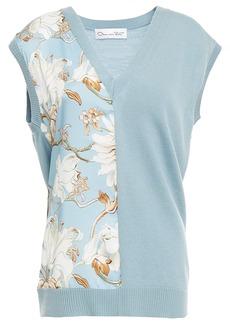 Oscar De La Renta Woman Floral-print Crepe De Chine-paneled Wool-blend Vest Light Blue
